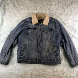 Old Navy Vintage Denim Jean Jacket Sherpa Fur XL